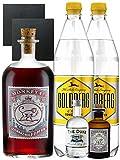 Gin-Set Monkey 47 SLOE GIN Schwarzwald Dry Gin 0,5 Liter + The Duke München Dry Gin 5 cl + Monkey 47 Schwarzwald Dry Gin 5 cl MINIATUR + 2 x Goldberg Tonic Water 1,0 Liter + 2 Schieferuntersetzer quadratisch 9,5 cm
