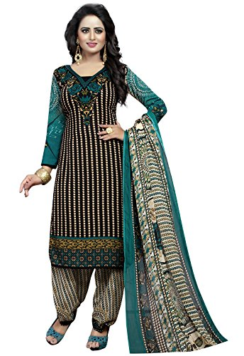 Ishin Synthetic Black Party Wear Wedding Wear Casual Wear Daily Wear Bollywood New Collection Latest Design Printed Trendy Unstitched Salwar Suit Dress Material (Anarkali/Patiyala) With Dupatta  available at amazon for Rs.399