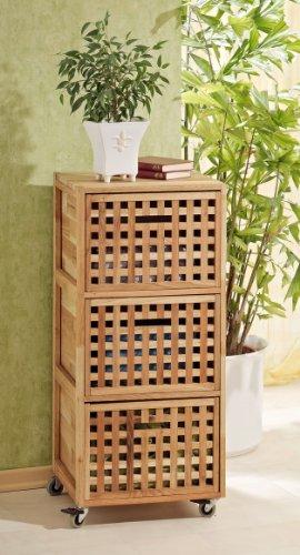 Rollcontainer, Regal, Wäschebox Schrank aus Walnuss Holz