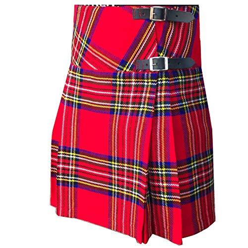 TECTIKO Techtiko - Falda Escocesa para Mujer (Correa de Piel Ajustable), diseño de Cuadros Escoceses Rojo Rosso 34