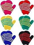 Boao 6 Paar Strecken Fäustlinge Winter Warme Gestrickte Handschuhe für Kinder Kleinkind Liefert (Farbe Set 1)