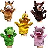 Happy Cherry - (Set de 5) Marionetas de Manos Juguetes de Peluche Animales para Niños niñas bebes Cuentacuentos - caballo/ serpiente/ lobo / Gallina / Cerdo