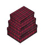 Staubbeutel von Zimmer–Set von 3echten Shirt-Boxen–rot und grün kariert 3Weihnachten Geschenk-Boxen