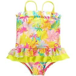 Sociala Mädchen Baby Kokospalme Einteiler Badeanzüge mit Höschen Rüschen spaghettiträger Ärmlos mehrfärbige Strandkleidung Gelb 18-24 Monate