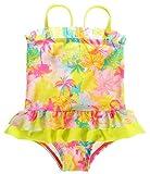 Sociala Mädchen Baby Kokospalme Einteiler Badeanzüge mit Höschen Rüschen spaghettiträger Ärmlos mehrfärbige Strandkleidung Gelb 12-18 Monate