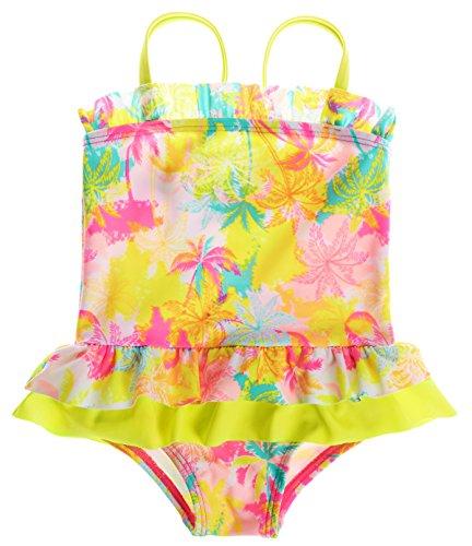 Sociala Mädchen Baby Kokospalme Einteiler Badeanzüge mit Höschen Rüschen spaghettiträger Ärmlos mehrfärbige Strandkleidung Gelb 6-12 Monate