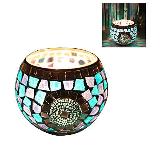 Mosaico in vetro votiva portacandele con led tealight a candela led (incluso), blue