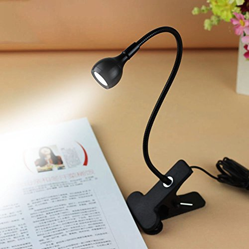 Bulfyss Rrimin USB Flexible Reading LED Light Clip-on Beside Bed Table Desk Lamp (White, Light Black)