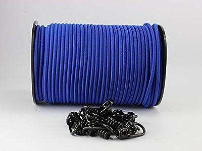 8mm Expanderseil blau 20m + 20 Spiralhaken Gummiseil Planenseil Haken Seil Plane