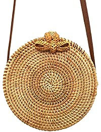 LQZ Handwoven Leather Straps Round Rattan Shoulder Sling Bag For Women Girl