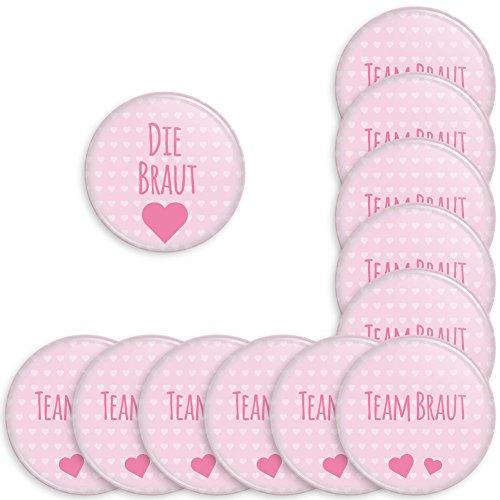 Werbewas 12er Set Runde Buttons für Feierliche Anlässe - Hochzeit - Junggesellenabschied / JGA Party - Trauung (38mm) Motiv Team Braut - Rosa mit Nadel-Anstecker