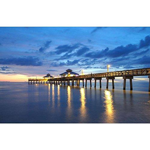 Pitaara Box Pier at Sunset In Naples, Florida, Usa Peel & Stick Vinyl Wall Sticker 24.8 X 16Inch -
