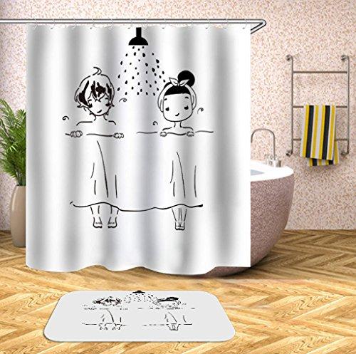 Gry Einfaches Muster Duschvorhang und Teppich 2er Set (antibakteriell und wasserdicht - Anti-Schimmel-Behandlung gegen Korrosion)