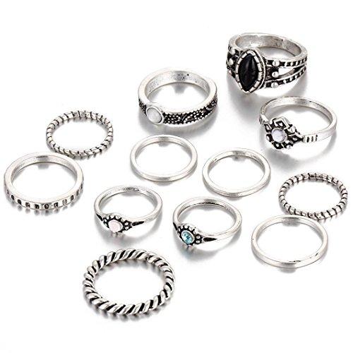 Preisvergleich Produktbild Zolimx 12PCS Frauen Boho Kristall blumen Knöchel-Ring (Silber)