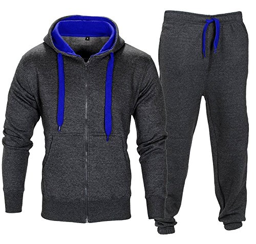Malaika® Mens Full Zip Up Contrast Cord Brushed Fleece Tracksuit Hoodie Jogging Joggers Gym Suit - Available in Plus Sizes (Small to XXXXXL)