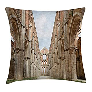 Scenery Decor Throw Pillow Cushion Cover by, Ancient Antique Abandoned Big Abbey in a Open Sunny Day Artistic Photo, Decorative Square Accent Pillow Case, 18 X 18 Inches, Brown and Green