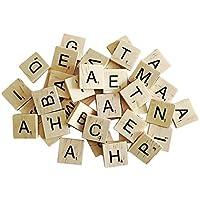 YOGINGO 100pcs Black Wooden Letters Puzzle Alphabets A to Z Tiles Scrabble Board Crafts