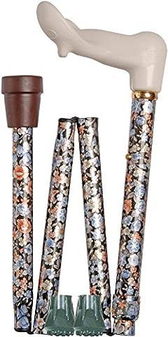 canne orthopédique pour droitier pliante et ajustable, motif floral et