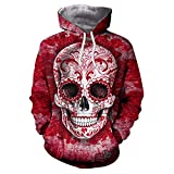 Unisex Plus Size Herbst Winter 3D Printed Bequeme Größen Skull Pullover Langarm Kapuzen Sweatshirt Tops Bluse T Shirt Baseball Jacke Tops Rot Kleidung (Color : Rot, Size : 2XL)