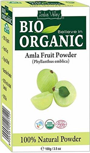 Indus Valley Bio Pure Natural Certified Amla Powder Enthält Haar- und Hautkräuterbuch in englischer Sprache (100g Amla Fruchtpulver) - Haar öl Amla