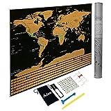 INFUN Weltkarte zum Rubbeln Rubbelweltkarte Landkarte Poster Travel Karte, enthalten 4 Reißnägel, Lupe, 3 pcs-Aufkleber, Holzschaber und Reinigungsbürste 82.5x59cm