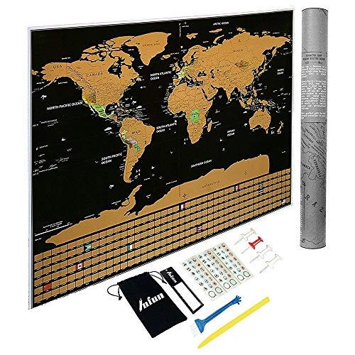 INFUN Weltkarte zum Rubbeln in ENGLISCH Rubbelweltkarte Landkarte Poster Travel Karte, enthalten 4...