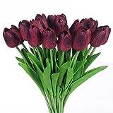 Justoyou 20künstliche Tulpen, für Hochzeit, Sträuße, Haus, Garten, dunkelrot, Latex