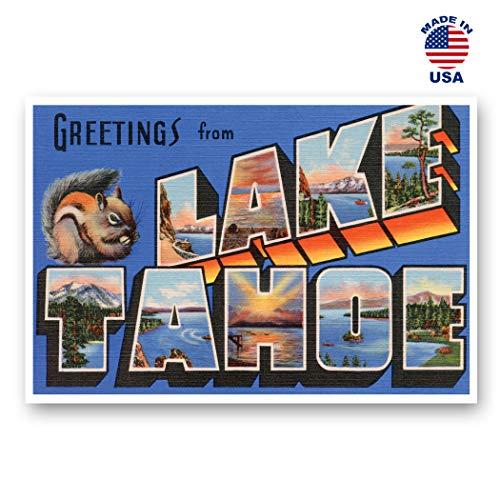 Grußkarten im Vintage-Stil, Nachdruck-Postkarten-Set mit 20 identischen Postkarten Postkarte mit großem Buchstaben Lake Tahoe (ca. 1930er-1940er-Jahre. Hergestellt in den USA.