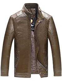 YYZYY Homme Rétro Classique Automne Hiver Manteaux En Cuir Veste Chaud Biker Moto Blousons Mens PU Leather Vintage Jackets