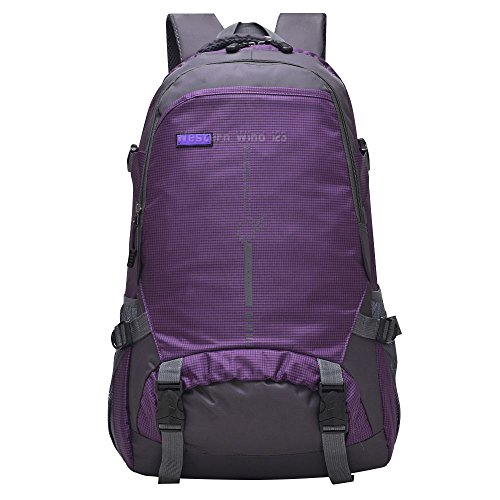 Wocharm(TM) 45L Outdoor Sports Waterproof Riding Cycling Bike Bag Hiking Camping Backpack Travel Rucksack (45L Purple)