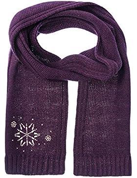 maximo Mädchen Schal, Eiskristall, Strassmotiv, Violett (Aubergine 31), One size (Herstellergröße: 55/57)