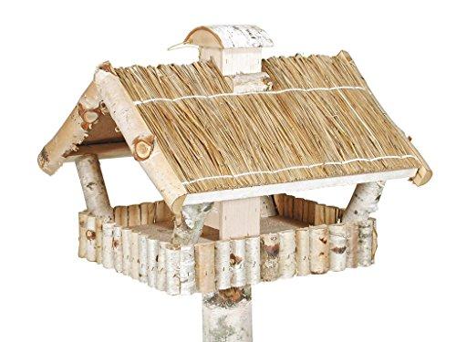 Vogelhaus und Futtersilo und Standfuß aus Birke mit Strohdach quadratisch
