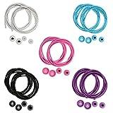 The Friendly Swede 5 Paar elastische Schnürsenkel - schleifenloses Schnellschnürsystem, ideal als Sportschnürsenkel (Weiß + Schwarz + Rosa + Hellblau + Lila)