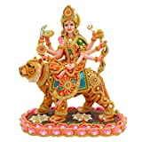 PAPILON Marble Handmade Gold Plated Goddess Kamal Durga Maa Showpiece, 15x9x15-inches, Multicolour