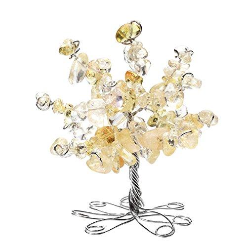 QGEM Natur gelb Citrin Edelstein Trommelsteine Glücksbaum Geldbaum im Büro Tisch Deko Feng Shui Healing Baum des Lebens Dekoration für Glück