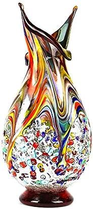 YourMurano Vaso in vetro di Murano colorato Made in Italy, Vetro soffiato, Design moderno, Fatto a mano, 100%