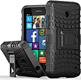 Fosmon® Nokia Lumia 635 / 630 Case (HYBO-RAGGED) Dual Layer Protection Heavy Duty Hybrid Case Cover with Built In Stand for Windows Phone 8.1 Nokia Lumia 635 & Lumia 630 - Fosmon Retail Packaging (Black)