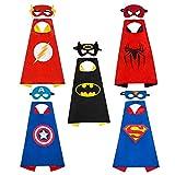OCMCMO Costumi da Supereroi per Bambini , 5 mantelli e 5 Maschere, per i Regali di Compleanno per Ragazzi e Ragazze | Costumi di Carnevale