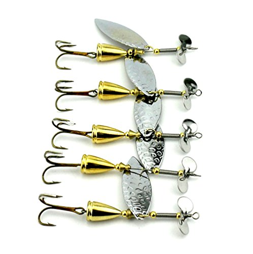 hengjia Lot 5Cuillère Spinner Bait 5moldes 5.9?16.6G paillettes appât pour truite Basse brochet pêche - 12.90