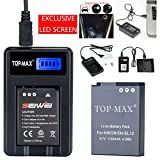 TOP-MAX® EN-EL12 Battery + USB Charger(LED Screen) for Nikon Coolpix P300 P310 P330 P340 P3000 S31 S70 S610 S620 S630 S640 S800c S1000pj S1100pj S1200pj S6000 S6100 S6150 S6200 S6300 S8000 S8100 S8200 S9050 S9100 S9200 S9300 S9400 S9500 S9600 S9700 S9900 AW100 AW100s AW110 AW110s AW120 AW120s AW130 Digital Camera
