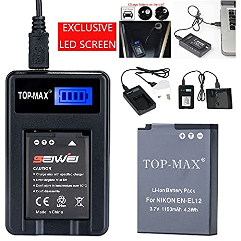 TOP-MAX® EN-EL12 Battery + USB Charger(LED Screen) for Nikon Coolpix