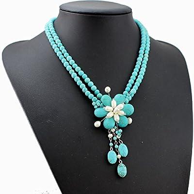 Collier Turquoise Perles Perles d'eau douce Collier Perle Turquoise Bijoux d'été Cadeaux Pour La Fête Des Mères