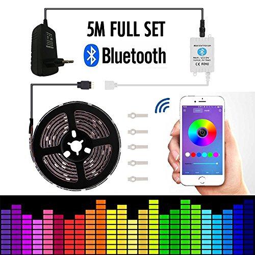 Led Stripes 5m TENLION LED Strip Licht Streifen Bluetooth Smartphone kontrolliert Geeignet für Android und IOS, Apparaturen des 5050 RGB 5 Meter 150 Licht Led Streifen+12V 3A Elektrizitätsquelle
