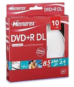 Memorex Double Layer DVD+R 2.4x 8.5GB 10er Pack Cakebox DVD-Rohlinge