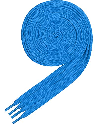 Ladeheid Qualitäts-Schnürsenkel LAKO1001, Flachsenkel für Arbeitsschuhen und Sportschuhen aus 100% Polyester, ca. 7 mm Breit, 18 Farben, 60-200 cm Länge, Blau14, 140cm -