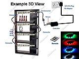 LED-Beleuchtungs-Set für Vitrinen und Glassregale, farbwechselnde LEDs, 50cm Streifen, 4 Stück