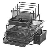 DESIGNA Mesh Desk Organizer con 3 vassoi scorrevoli e 4 sezioni di fascicolazione impilabili con portamatite, nero