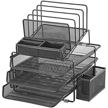 Organiseur de fournitures de bureauovale et organiseur à tiroirs Maille en acier noire Ensemble de 2rangements de bureau Halter