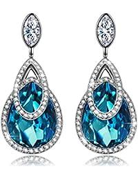 """J.NINA """"Lagos Alpinos"""" Waterdrop Dangle Pendientes Mujer fabricados con cristales Swarovski, El Mejor Regalo para Mujer y Niñas"""