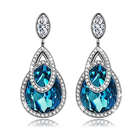 J.NINA Alpine lakes SWAROVSKI crystals Women Earrings Aquamarine Color Jewellery Birthday Gifts Valentines Gifts Mothers Day Gifts Christmas Gifts Anniversary Gifts Wedding Gift for Wife Mother Girl